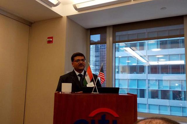 Jagat Shah addressing Citi Bank in New York.
